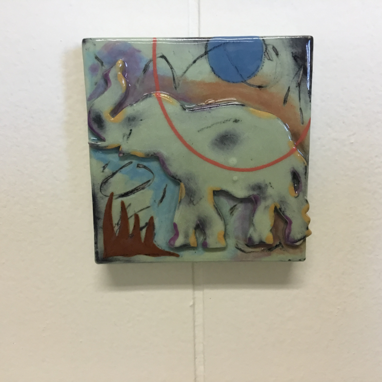 Light Green Elephant Dimensional Stoneware Art Tile on wall