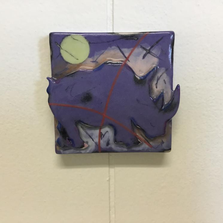 Purple Rhino Dimensional Stoneware Art Tile on wall