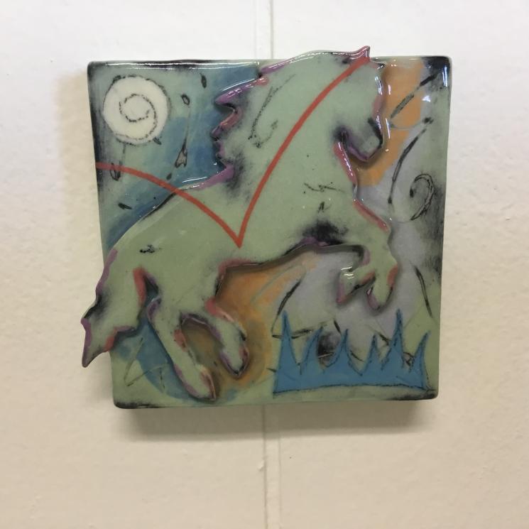 Light Green Horse Dimensional Stoneware Art Tile on wall