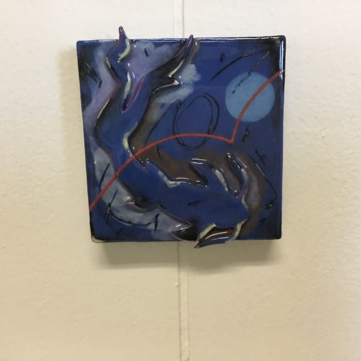 Dark Blue Koi Dimensional Stoneware Art Tile on wall