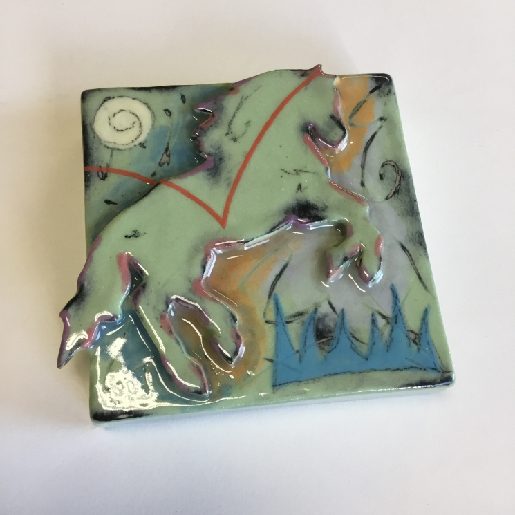 Light Green Horse Dimensional Stoneware Art Tile
