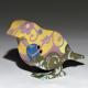 Yellow flock sculptural porcelain bird