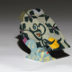 Green flock sculptural porcelain bird