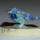 """Willow"" porcelain songbird sculpture on base"