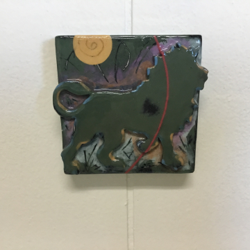 Dark Green Lion Dimensional Stoneware Art Tile
