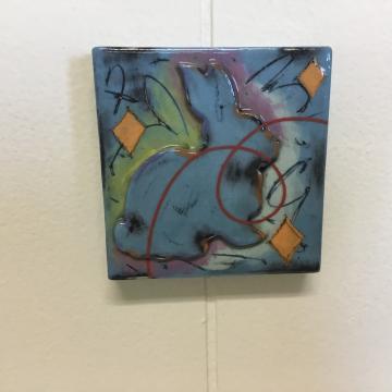 Turquoise Rabbit Dimensional Stoneware Art Tile