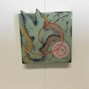 Light Green Hummingbird Dimensional Stoneware Art Tile