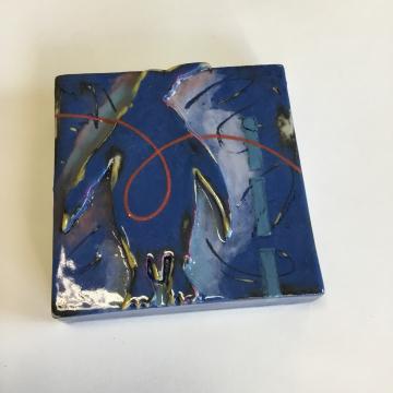 Dark Blue Penguin Dimensional Stoneware Art Tile