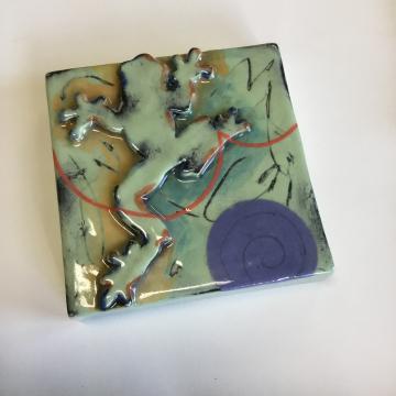Light Green Frog Dimensional Stoneware Art Tile