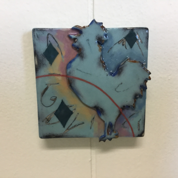 Aqua Rooster Dimensional Stoneware Art Tile