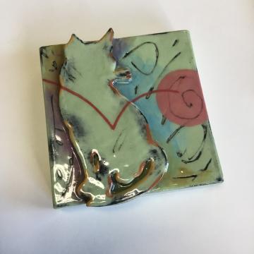Light Green Kitty Dimensional Stoneware Art Tile