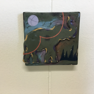 Dark Green Elephant Dimensional Stoneware Art Tile