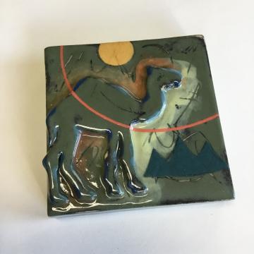 Dark Green Camel Dimensional Stoneware Art Tile