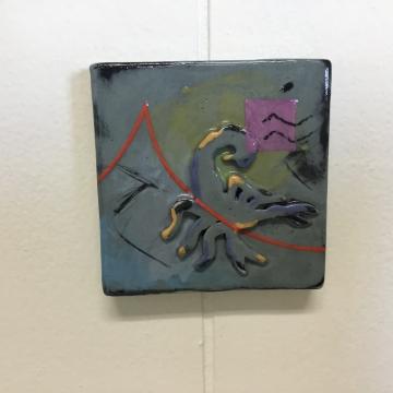 Sage Scorpion Dimensional Stoneware Art Tile
