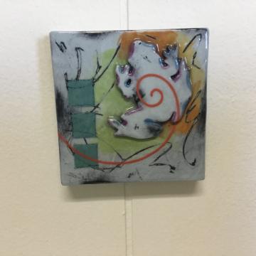 Pale Aqua Frog Dimensional Stoneware Art Tile