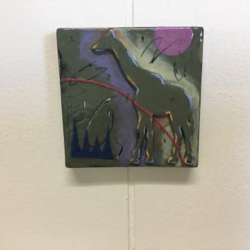 Army Green Giraffe Dimensional Stoneware Art Tile