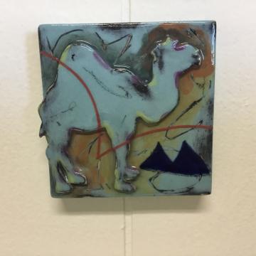 Aqua Camel Dimensional Stoneware Art Tile