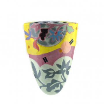 Retro Yellow, Purple, Aqua, Floral Petite Wall Vase, No.8