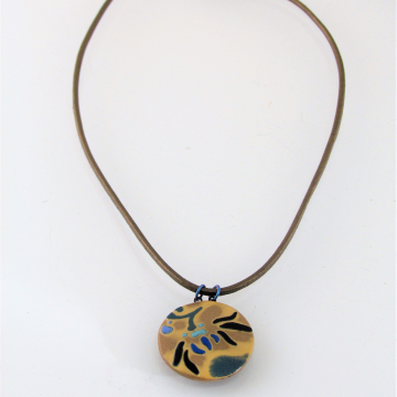 Caramel-Colored Porcelain Pattern Pendant with Leather Cord, Round #7