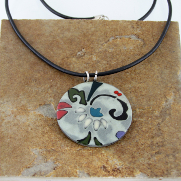 Mint Porcelain Pattern Pendant with Leather Cord, Round #5