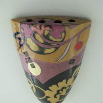Retro Yellow Ochre, Purple, Indigo, Floral Petite Wall Vase, No.14