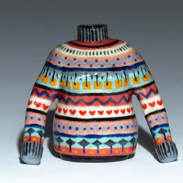 Multi-Colored Nordic Sweater Bud Vase